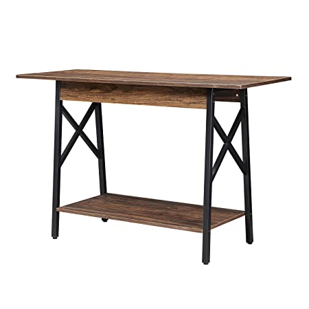 GreenForest Console Table Wood and Metal Base Rustic Enterway Table with Storage Space Sofa Table for Living Room Walnut
