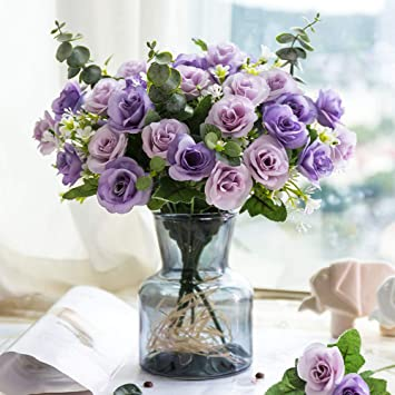 Yiliyajia Silk Artificial Flowers With Grass Vase Fake Rose Bulk Wedding Flowers Bouquets For Party Home Centerpieces Table Decoration Purple