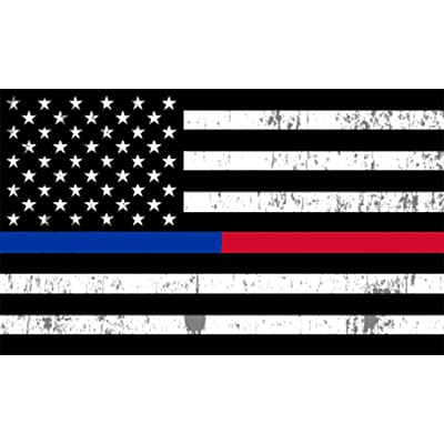 Rogue River Tactical Thin Red Blue Line Lives Matter Flag Car Decal Bumper Sticker Support Law Enforcement Police Officers and Firefighter (3x5 Inch): Automotive