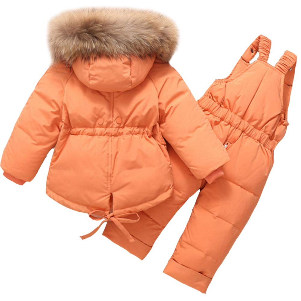 Aablexema Toddler Two Piece Winter Snowsuit Kids Winter Warm Hooded Snowsuit Baby Down Jacket with Trousers Set