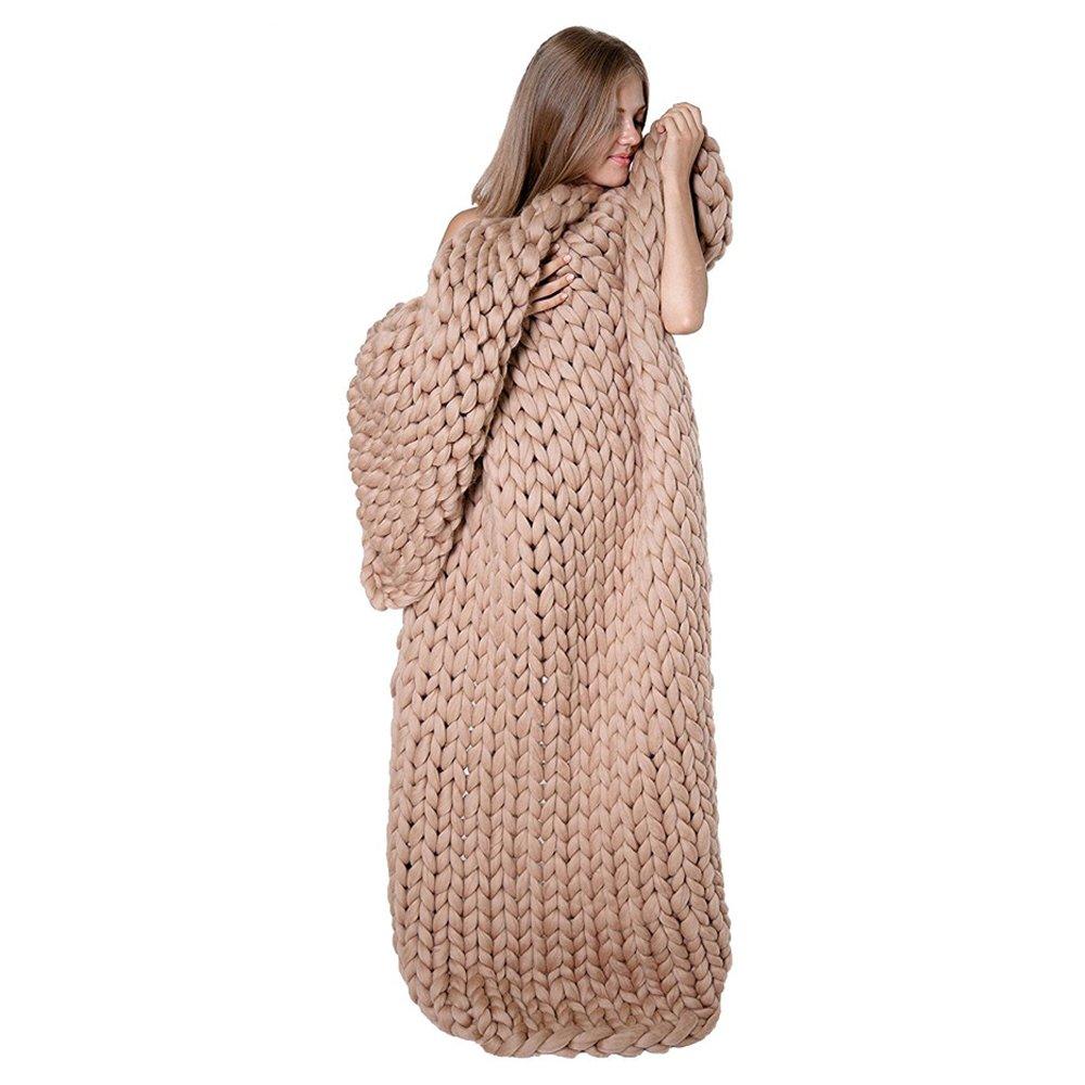 Tapis de lit épais en tricot - Fait à la main - Pour animal domestique - Matelas en laine mérinos - Canapé tricoté - Plaid, Laine, beige, 40×60 40×60 Amay