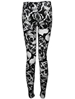 The Home of Fashion New Ladies Black and White Skull and Rose Print Stretchy Leggings Size 8-14 (10 (SM))