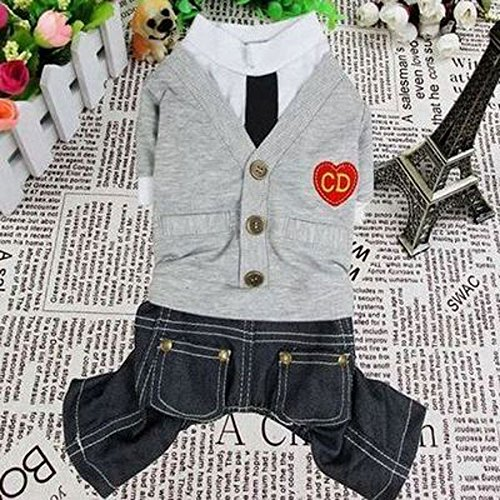[Smalllee_Lucky_Store Sweater Jumpsuit, X-Small, Grey] (Business Suit Dog Costume)