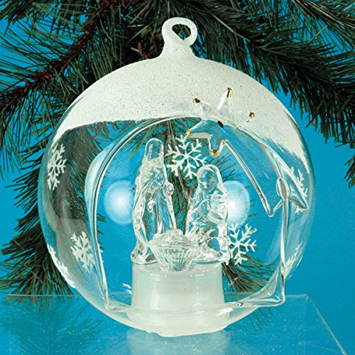 Holy Family Nativity LED Glass Globe Christmas Tree Ornament - Color Changing Lights - Clear Glass with Hand Painted Glitter Snowflakes - 5 Inch Diameter