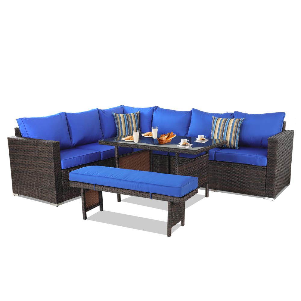 Outime Patio Furniture Sets 5PCS Brown PE Rattan Sofa Set with Royal Blue Cushion Garden Rattan Seating Couch Sectional with Bench Conversation Sofas
