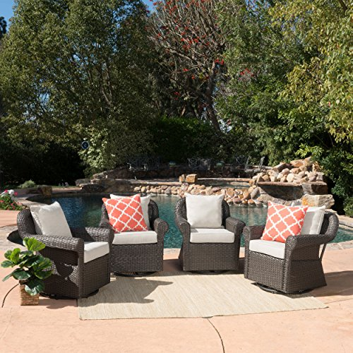 Augusta Patio Furniture ~ Outdoor Wicker Swivel Rocker (Glider) Chair (Set of 4) - Swivel Rocking Set