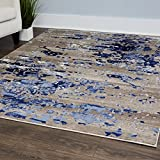 Cheap Vogue Area Rug by Home Dynamix, 4061-196 Beige-Blue | Abstract Pattern, Modern Elegance | Indoor Rug for the Living Room, Dining Room, Bedroom or Even Your Office | Soft and Cozy, Easy to Clean
