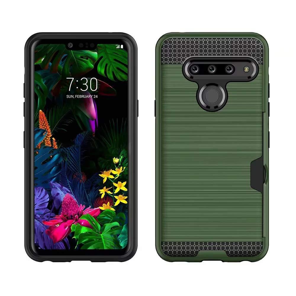 Slim Fit Berry Accessory LG G8 ThinQ Case,LG G8 Case,Credit Card Holder Dual Layer Silicone Rubber Hybrid Defender Armor Full Body Protective Case for LG G8 ThinQ//LG G8 Armor Green