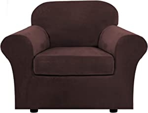 Rich Velvet Stretch 2 Piece Chair Cover Chair Slipcover Sofa Cover Furniture Protector Couch Soft with Elastic Bottom Chair Couch Cover with Arms, Machine Washable(Chair,Brown)