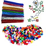 """Fireboomoon 500PCS Craft Making Assorted Pom Poms 0.6"""" And 100Pcs/10 Colors Creative Metallic Pipe Cleaner Chenille Stem 12"""" x 6mm Inch,Glitter Sparkle Pipe Cleaner for Arts and Crafts."""