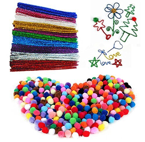 """Fireboomoon 500PCS Craft Making Assorted Pom Poms 0.6"""" And 100Pcs/10 Colors Creative Metallic Pipe Cleaner Chenille Stem 12"""" x 6mm Inch,Glitter Sparkle Pipe Cleaner for Arts and Crafts. COACHING ADVANTAGES INC"""