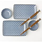 Blue and White Cross Sushi Set for 2 with Plates Sauce Dishes and Chopsticks …