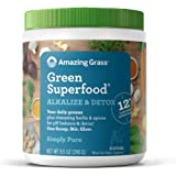 Amazing Grass Green Superfood Alkalize & Detox: Cleanse with Super Greens Powder, Digestive Enzymes & Probiotics, 30…