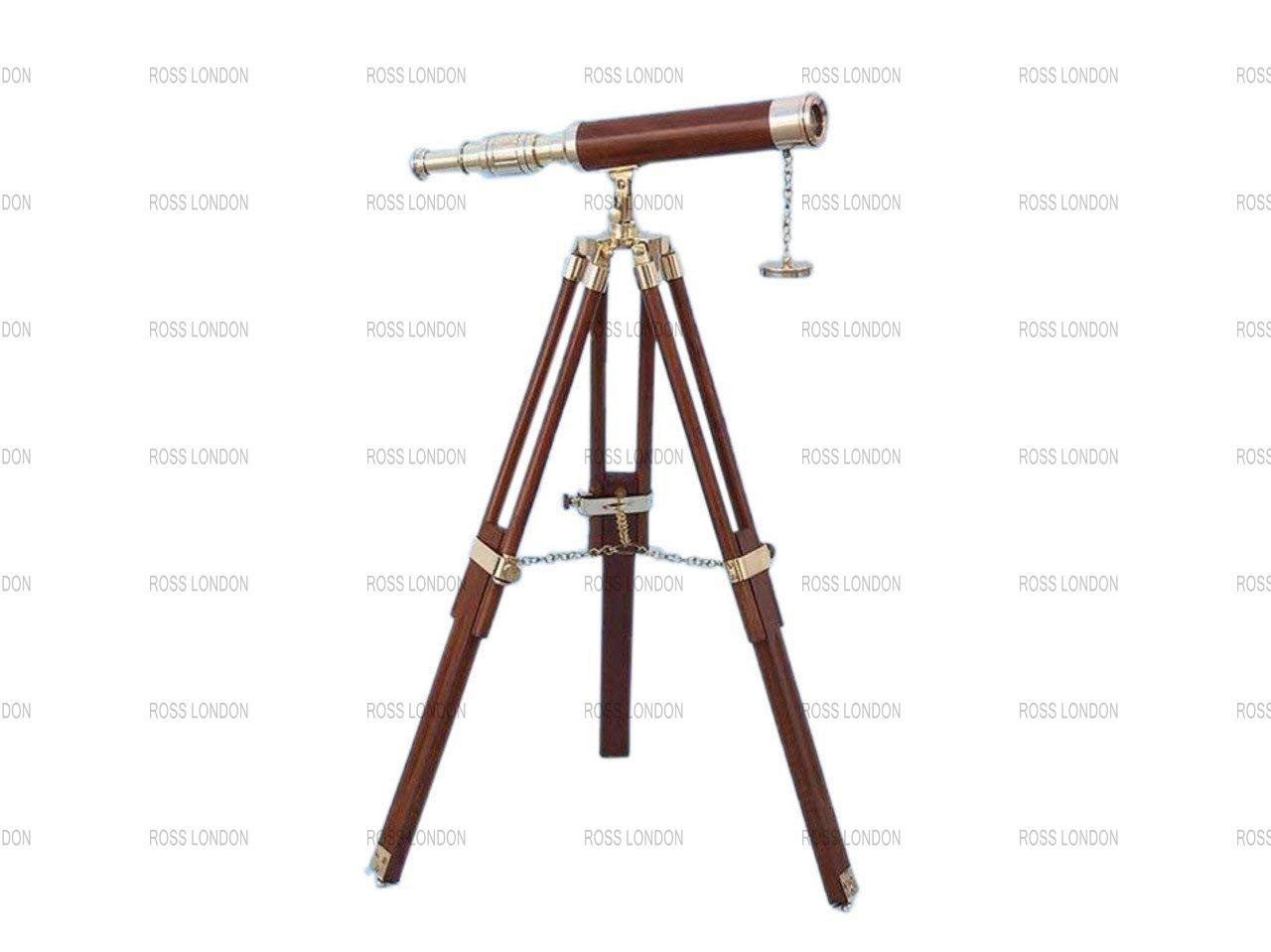 ROSS LONDON Antique Marine Brass Telescope Spyglass 14'' Solid Brass with Wooden Tripod Stand