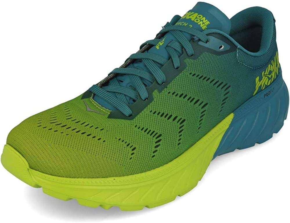 Hoka One Mach 2 - Zapatillas de running para hombre, color azul y verde lima: Amazon.es: Zapatos y complementos