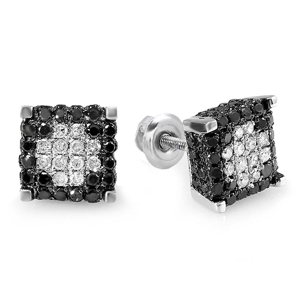 0.85 Carat (ctw) Sterling Silver Mens Ladies Unisex Black & White Diamond Ice Cube Stud Earrings