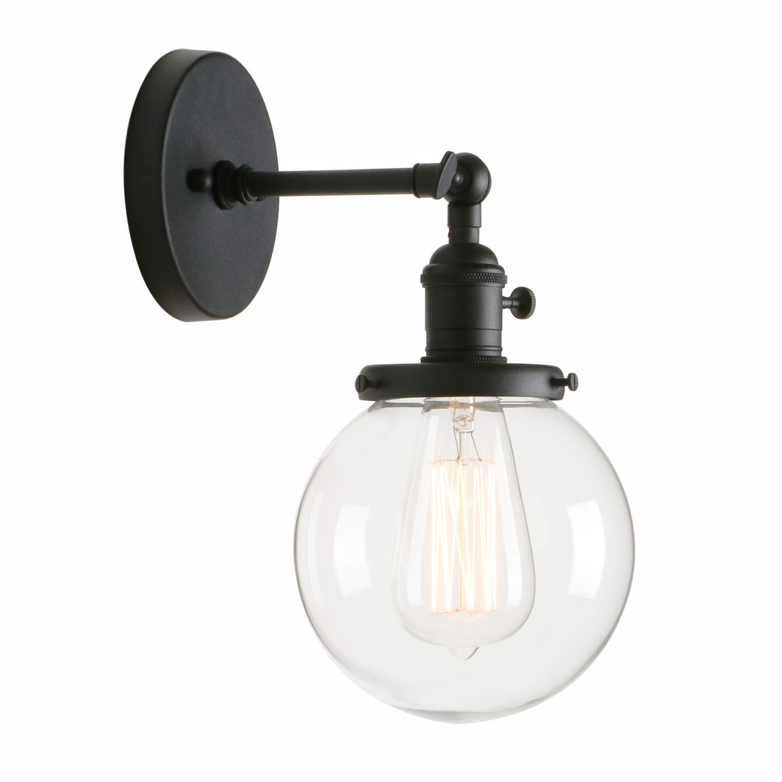 Permo Vintage Industrial Wall Sconce Lighting Fixture with Mini 5.9'' Round Clear Glass Globe Hand Blown Shade (Black)