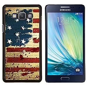 Qstar Arte & diseño plástico duro Fundas Cover Cubre Hard Case Cover para Samsung Galaxy A7 A7000 (Grunge bandera de los EEUU de la vendimia)