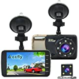 Dash Cam Vehicle DVR, HD 1080P Car Dual ,Rear Camera, 140 Degree Wide Angle, Night Vision,Loop Recording, Motion Detection ,G-sensor (Style 2) with LDWS & FCWS, Accfly