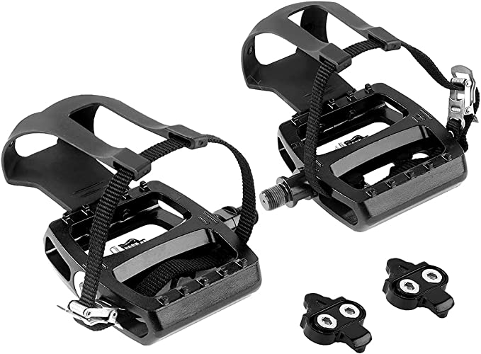 Haoliving SPD Pedals with Toe Clip and Straps Compatible with Shimano SPD Pedals Spin Bike Pedals Indoor Exercise Cycling Platform Pedals 9//16