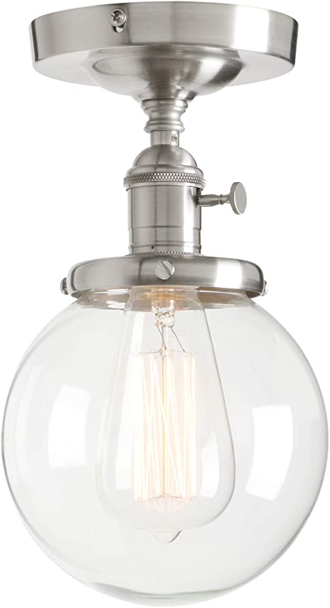 Permo Vintage Industrial Mini 5 9 Round Clear Glass Globe Semi Flush Mount Ceiling Light Fixture Brushed Amazon Com