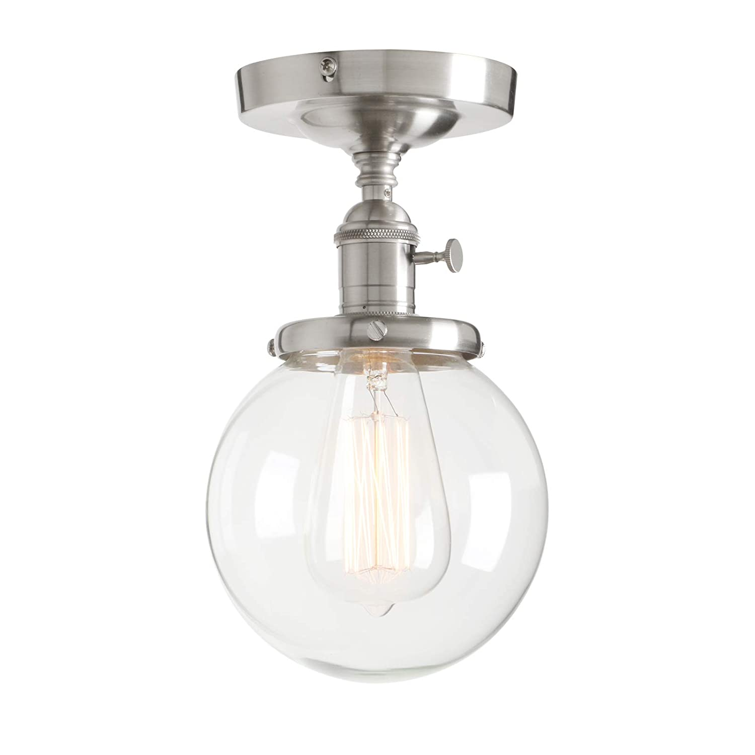 """Permo Vintage Industrial Mini 5.9"""" Round Clear Glass Globe Semi Flush Mount Ceiling Light Fixture (Brushed)"""