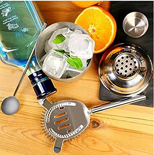 Cocktail Maker Set 10 Pce Home Cocktail Making Kit with Manhattan Cocktail Shaker Bar Measures, Twisted Bar Spoon, Muddler, Mixer, Bottle Pourer, Ice Strainer & Ice Tongs by The Wolf Moon® (Image #2)