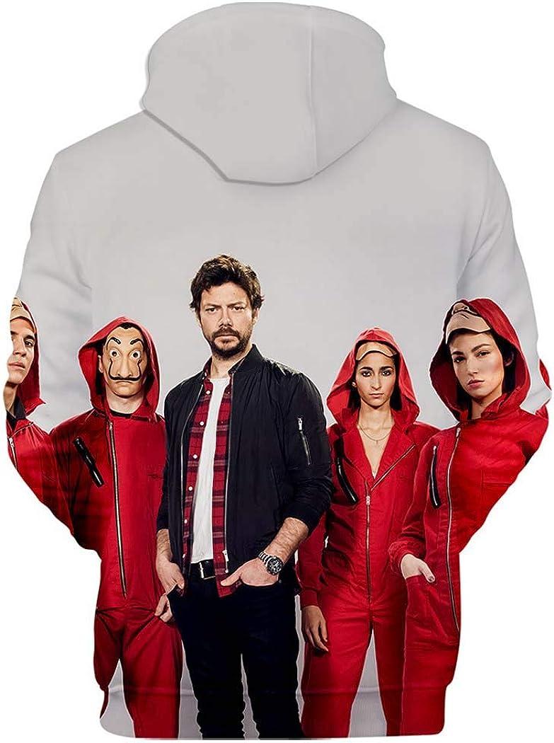 Flyself Unisex Money Heist Hoodie La Casa de Papel 3D Print Pullover Hoodies Long Sleeve Hooded Sweatshirts Jacket Coat for Men and Women