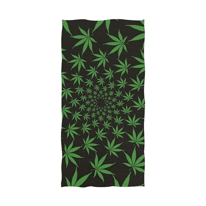 Ahomy Toalla de Playa Grande de Microfibra con diseño de Hojas de Marihuana, 188 cm x 94 cm, Toalla Ligera de Secado rápido, Playa, Viajes, Yoga, Deportes, ...