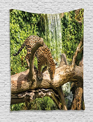 Ambesonne Safari Decor Collection  Jaguar Cat On A Tree Trunk Waterfall Endangered Species Wild Life Fast Animal Image  Bedroom Living Room Dorm Wall Hanging Tapestry  Green Peru Tan