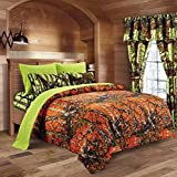 20 Lakes Camo Comforter, Sheet, & Pillowcase Set (Twin, Orange - Neon Green)