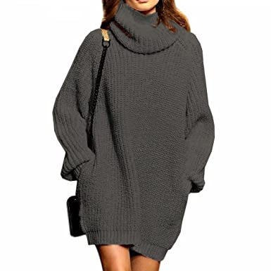 de296ebb6b Fengtre Women s Loose Oversize Turtleneck Wool Long Pullover Sweater Dress  Grey M