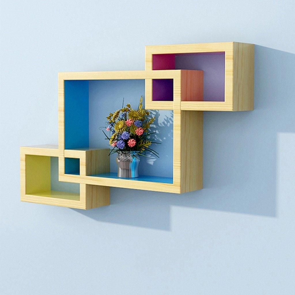 MMM- Madera maciza Estanterías de pared Sala de estar TV Contexto Decoración Estantería de rack Dormitorio Partición Creative Grid ( Color : Verde )