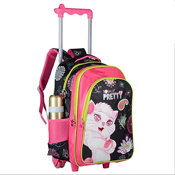 Amazon.com: HCC& 3D Cat Girl 3PCS Waterproof Rolling Backpacks, Wheeled Backpacks with Pencil Case Lunch Bag Recommended 6-12 Years Old,B: Home & Kitchen