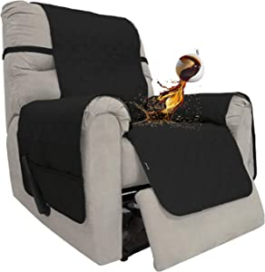 Easy-Going Sofa Slipcover Waterproof Recliner Chair Cover Non-Slip Fabric Couch Cover for Living Room Washable Furniture Protector for Pets Kids Children Dog Cat (Recliner, Black)