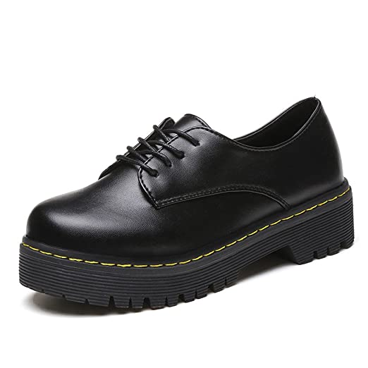 5748e85809b Hurrybuy Women s Perforated Lace-up Leather Shoes Flat Oxfords Shoes Black