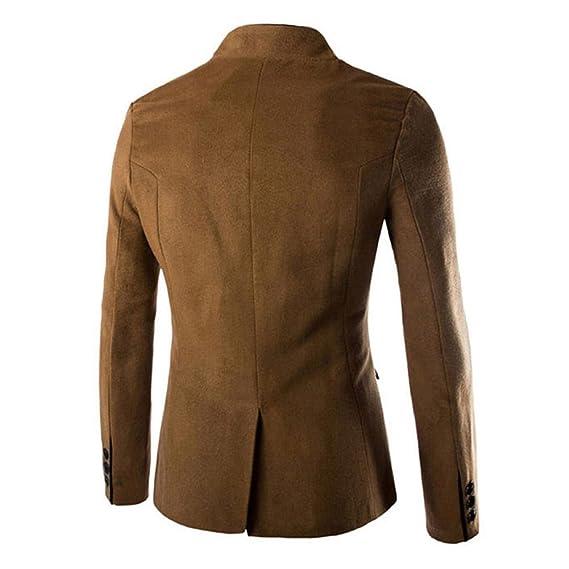Herren Stehkragen Mantel Slim Fit Anzug Jacke Mantel Stilvolle Wollmischung  Blazer Tops Button Tunika Trenchcoat Outwear Khaki Schwarz  Amazon.de  ... f9919b38bc