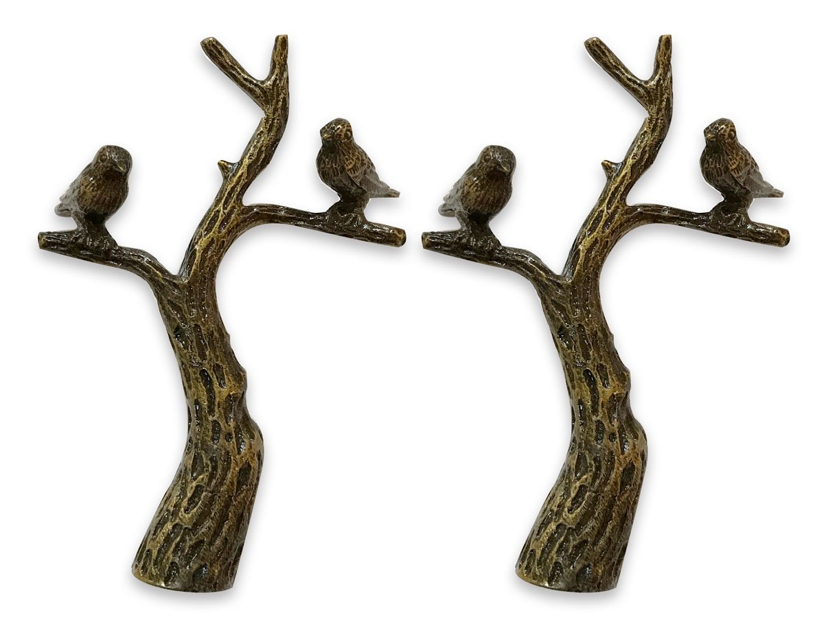 Royal Designs Small Birds in Tree Lamp Finial for Lamp Shade- Antique Brass Set of 2