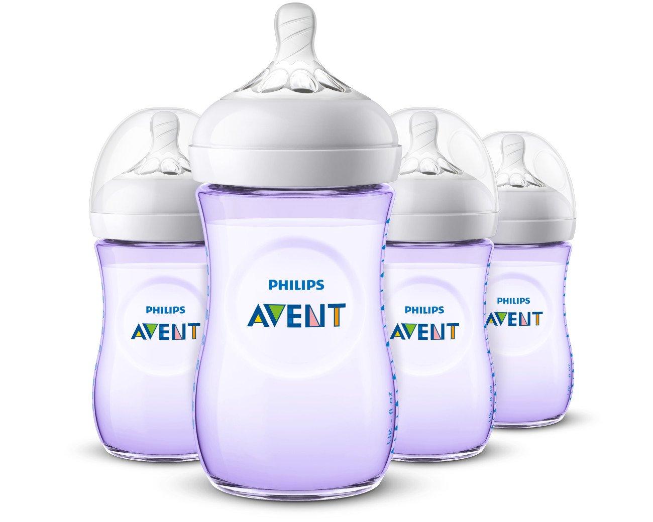 Philips Avent Natural Baby Bottle, Purple, 9oz 4pk, SCF013/43