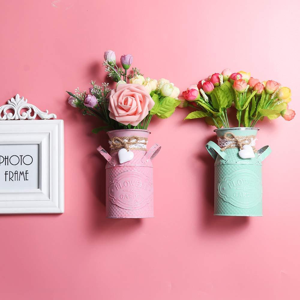 DEBEME Creativo Tavolo Vaso di Metallo Circolare Barile Flower Vase Vaso Retro Giardino Vintage Piantare Flower Vase Decorazione Domestica