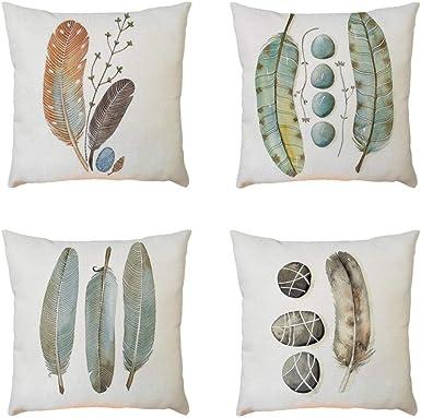 Fundas de Cojines Para Sofa 45x45-4PC/Conjunto Vintage Pluma Funda de almohada de Mezcla de lino para Jardin Cama Decorativo (01): Amazon.es: Ropa y accesorios