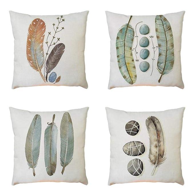 Fundas de Cojines Para Sofa 45x45-4PC/Conjunto Vintage Pluma Funda de almohada de Mezcla de lino para Jardin Cama Decorativo