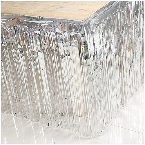 Shiny Metallic Tinsel Foil Fringe Curtains Table Skirt for Mardi Gras Party Decoration, Silver