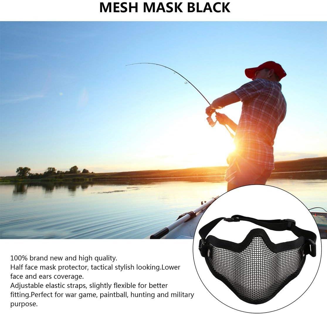 Kaemma La moiti/é inf/érieure de la Face des Oreilles de Couverture en m/étal en Acier Filet de Maille Masque de Protection Tactique dairsoft pour la Guerre Jeu de Chasse au Paintball Color:Black