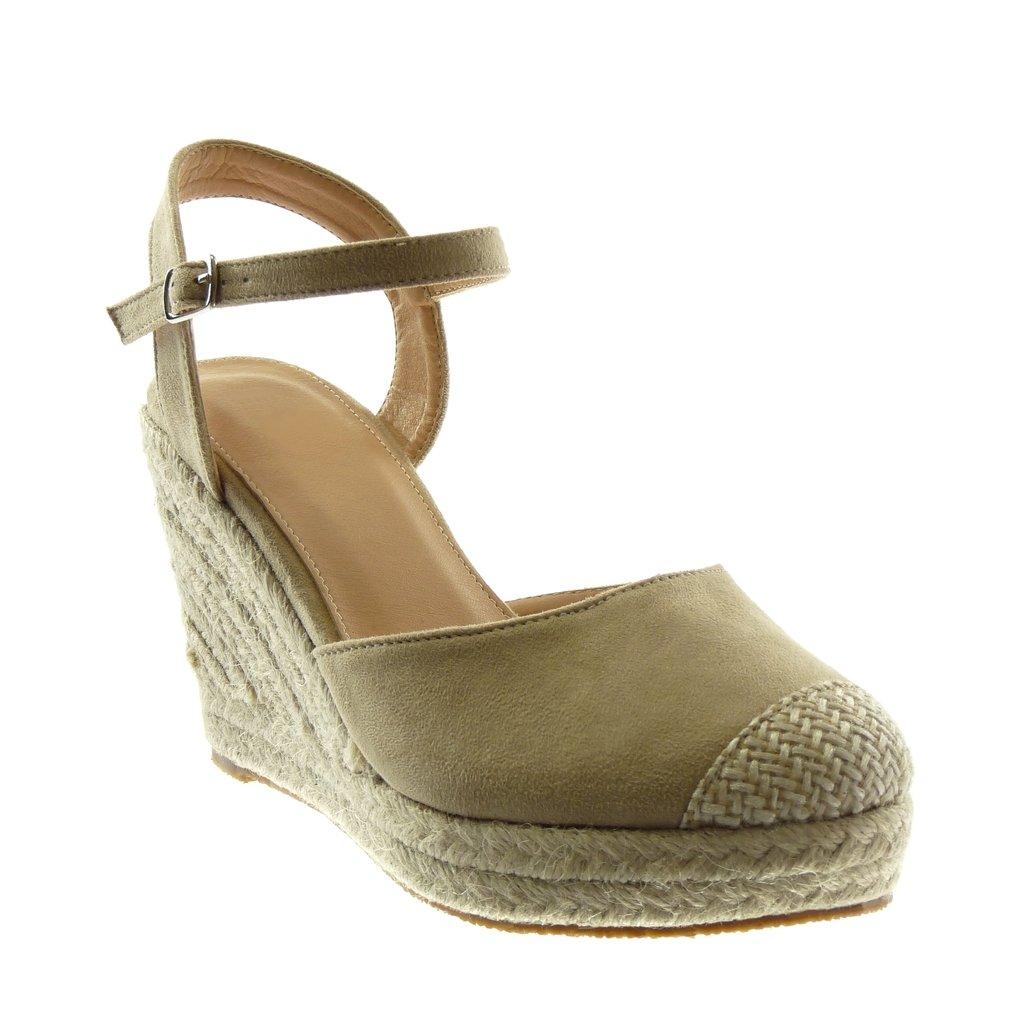 4154616d4c8548 Angkorly Chaussure Mode Sandale Espadrille Lanière Cheville Plateforme Femme  Corde Tréssé Lanière Talon Compensé ...