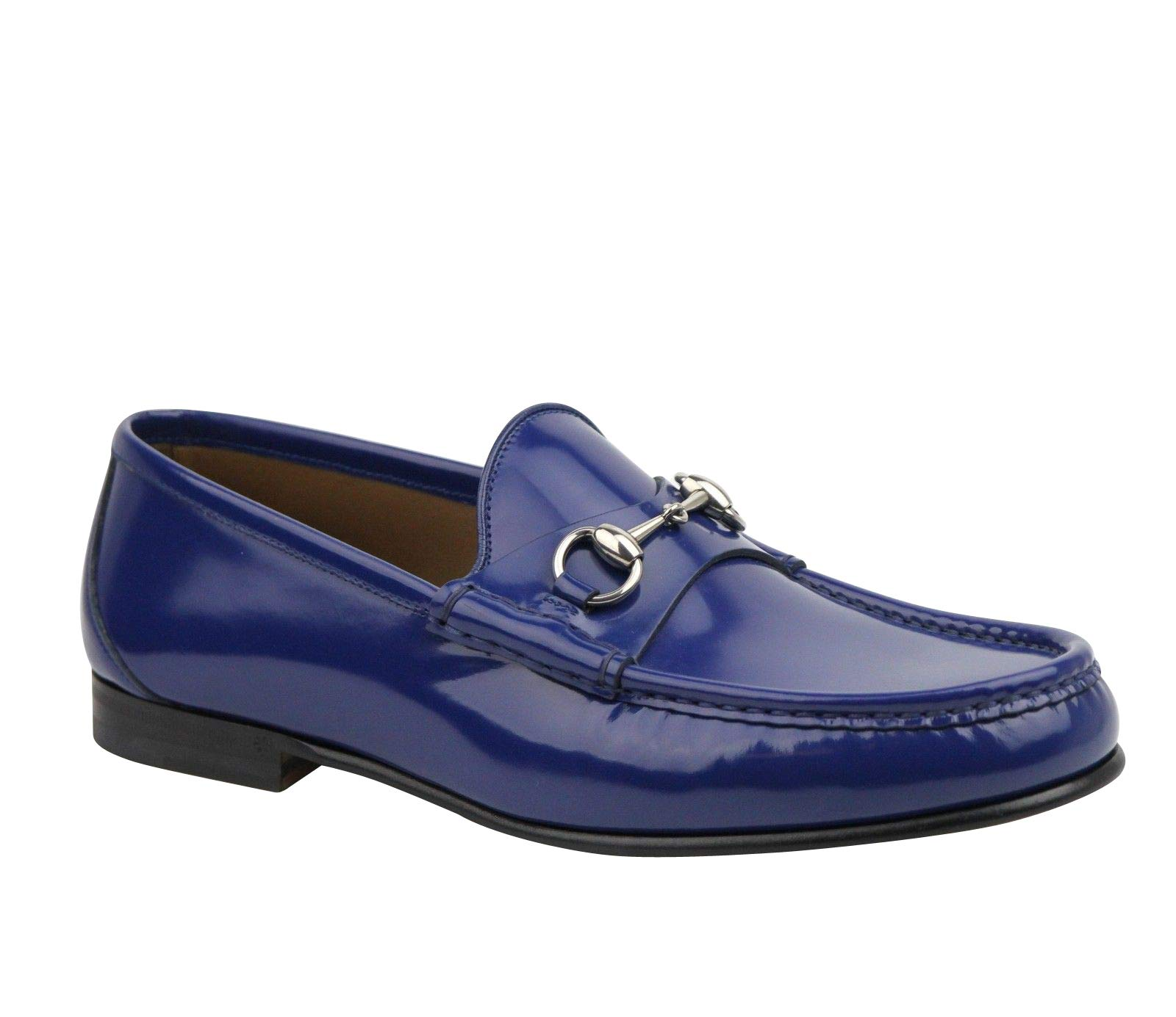 6b3e7e37775 Gucci Brushed Shiny Blue Patent Leather with Horsebit Detail Loafer 387598  4236 (9 G