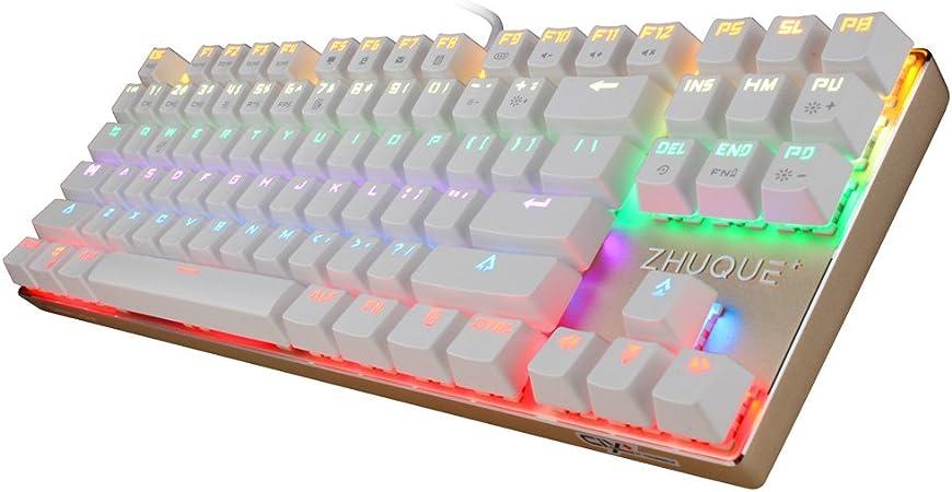 Equipo lobo zhuque [Ciy] [intercambiables interruptor] teclado mecánico, retroiluminación LED, varios colores, 7 modos de luz 87 teclas USB Wired ...