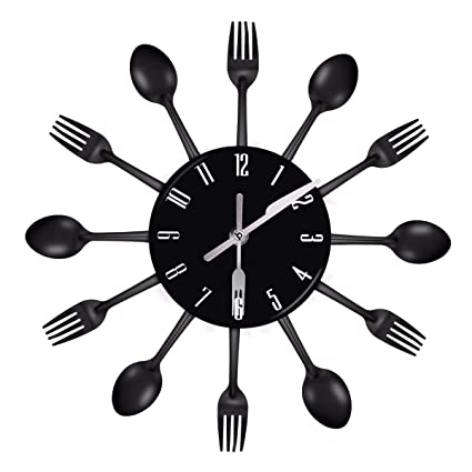 uniquebella kitchen wall clocks 3d art decorative hanging removable clock with forks and spoons for home - Kitchen Wall Clocks