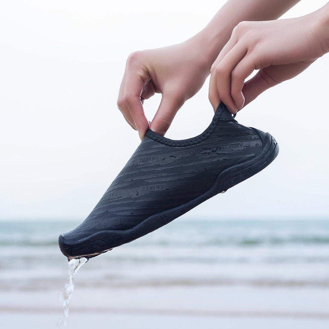 VAMV Water Shoes for Kids Boys Girls Quick Drying Beach Swim Shoe Sneakers Slip On Aqua Sock(Little Kid/Big Kid) (4, Black) by VAMV (Image #2)