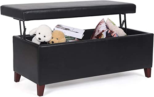Adeco Fabric Sturdy Design Rectangular Tufted Lift Top Storage Ottoman Bench Footstool Lift up Black